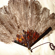 Victorian French Ostrich Feather Hand Fan