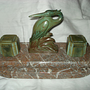 French Art Nouveau Heron Inkwell