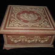 SALE Vintage Pink Incolay Carved  Music Box