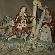 SALE Porcelain Figural Music Box Lighted Figurine