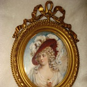 SALE Miniature Portrait Duchess Of Devonshire