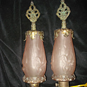 SALE Rose Bronze Art Nouveau  Mantle Lamps