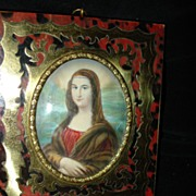 SALE Miniature Portrait On Ivory Boulle Mona Lisa