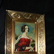 SALE Italian Miniature Portrait Woman with Book