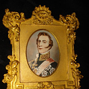 SALE Miniature English Gouache Portrait Duke of Wellington