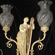 SALE Art Nouveau Unique  Figural Harpist Lamp