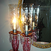 SALE Czechoslovakian Cranberry Hurricane Lamps
