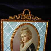 SALE French Miniature Gouache Portrait Noble Princess c19th