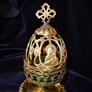 French Pictorial Blessed Virgin Copper Egg Candleholder c19th
