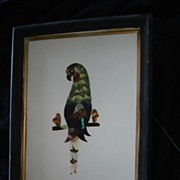 SALE Vintage Folk Art Butterfly Wing Parrot