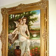 SALE Huge Italian Painting Oil On Canvas Grecian Woman and Cupid