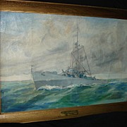 SALE Large Painting of Battleship Destroyer 1944 USS Eversole De 404