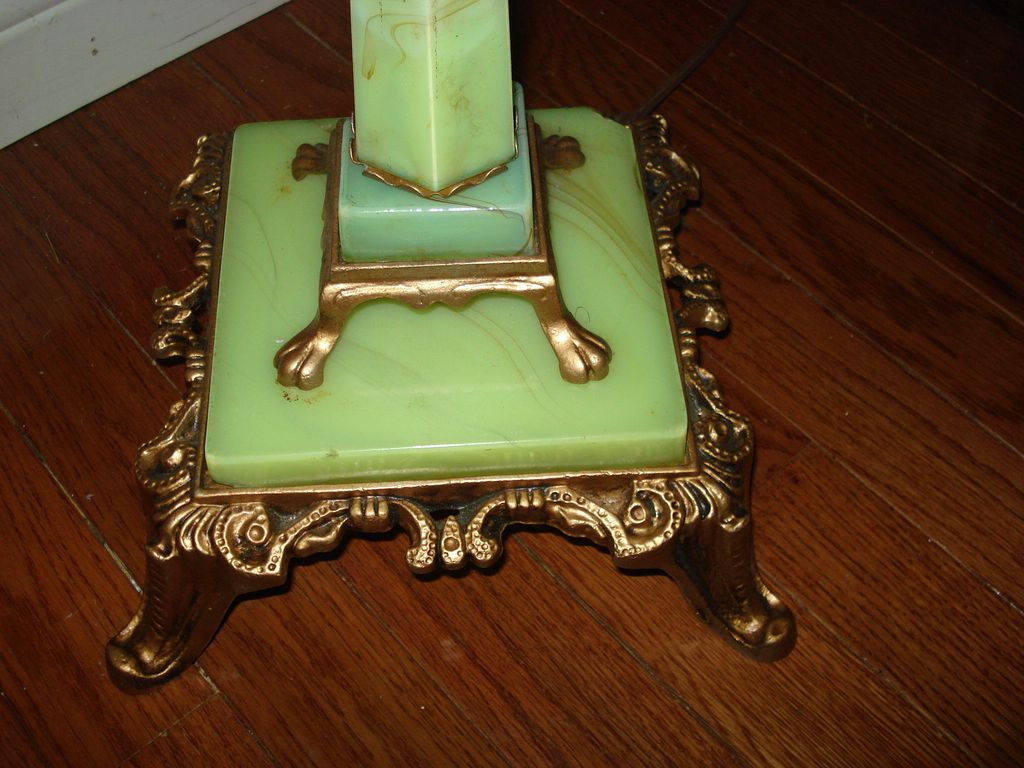ANTIQUE BRASS GREEN CARAMEL SLAG FLOOR LAMP Antique Auto