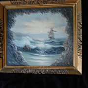 SALE Vintage Nautical Painting Ship on High Sea