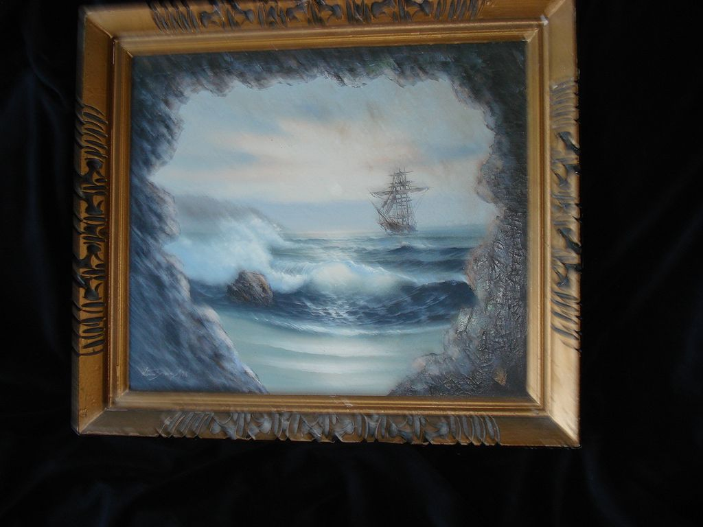 Vintage Nautical Painting Ship on High Sea