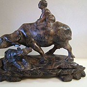 SALE Soapstone Carving Water Buffalo and Child