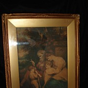 SALE Original 18th Century Watercolor Holy Family