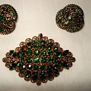 SALE Vintage Signed Lisner Parure Earrings and Brooch