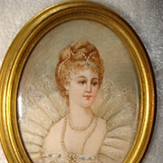 SALE Miniature French  Portrait Of Queen