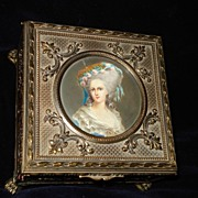 SALE French Ormolu Hand Painted Portrait Box Mme Lambelle