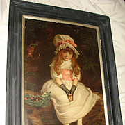 SALE Antique Lithograph Portrait Of Little Girl c1879