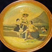 "SALE Wooden Hand Painted Spanish Bowl Signed ""Goya"""