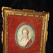 SALE Miniature Painting Of Queen Elizabeth Ist c19th