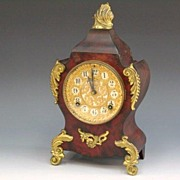 Ansonia Iron Case Faux Wood Mantle Clock c1882