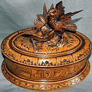 Black Forest Hand Carved Bird Box Casket c19th