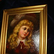 SALE Oil Painting Of Scottish Lass In Wooden Gilt Frame