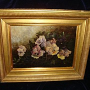 "SALE Oil On Board English School  Pansies signed"" Emma Magnus"" 19th"