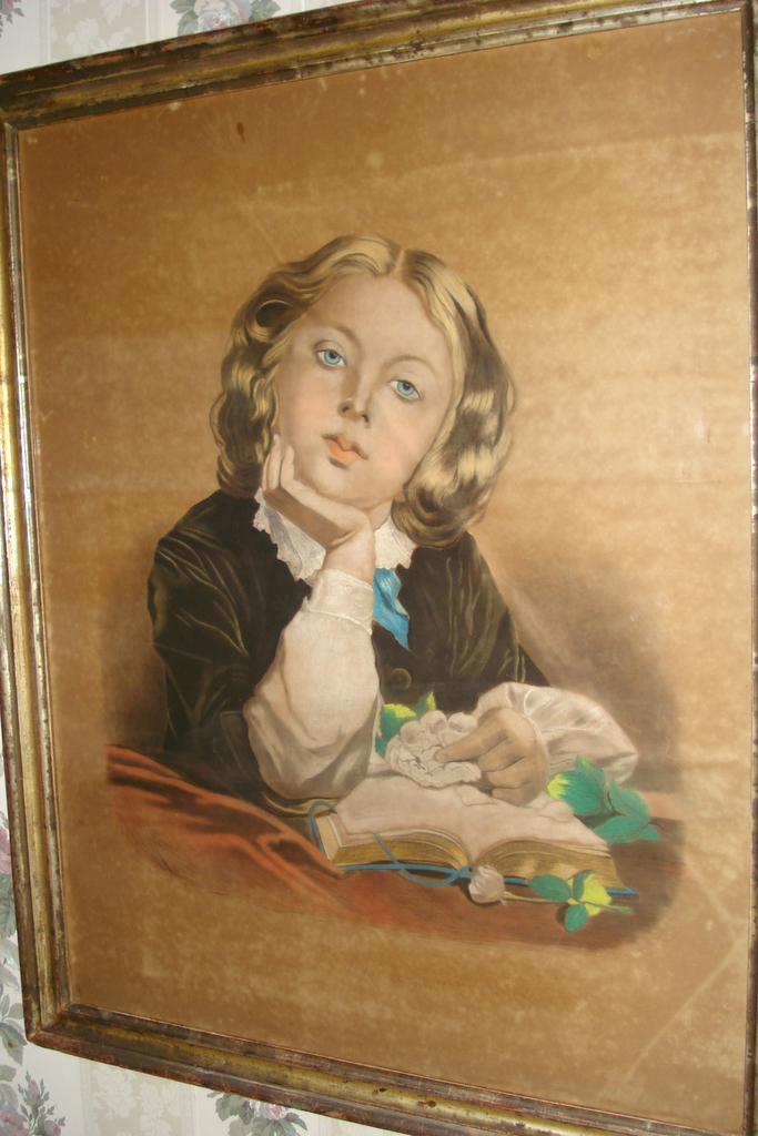 Original Portrait Young Boy With Bible American Artist c19th