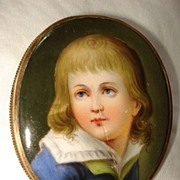 SALE Miniature French  Hand Painting On Porcelain Of Young Boy