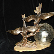 Art Deco French Bronze Birds In Flight Accent Lamp  c1920