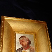 SALE French Hand Stitched Portrait Of A Peasant Man c19th