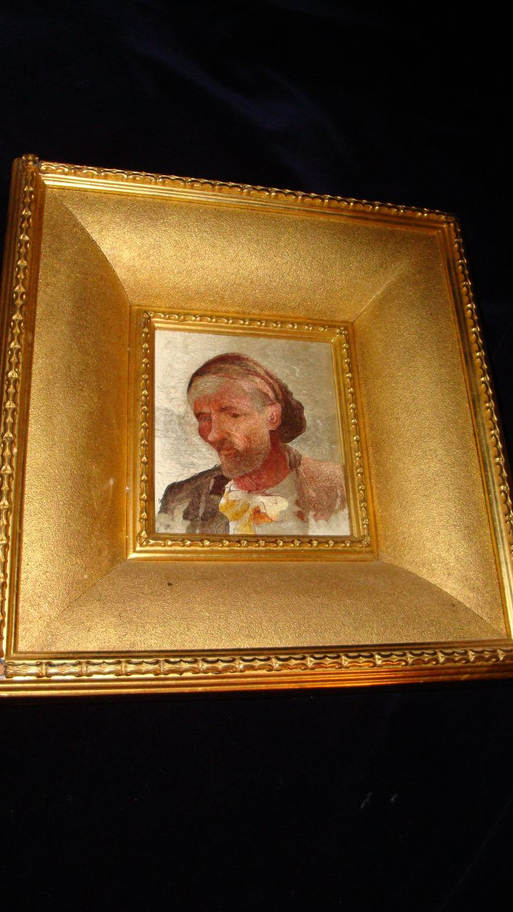 French Hand Stitched Portrait Of A Peasant Man c19th