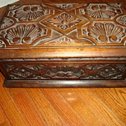 Antique c19th Carved Wood Walnut Renaissance Box Rock Hudson Estate Item