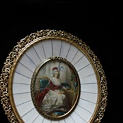 French Goache Painting On Ivory Marie Antoinette c19th