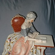 Vintage Large  Porcelain Figural Marie Antoinette At Desk c1950