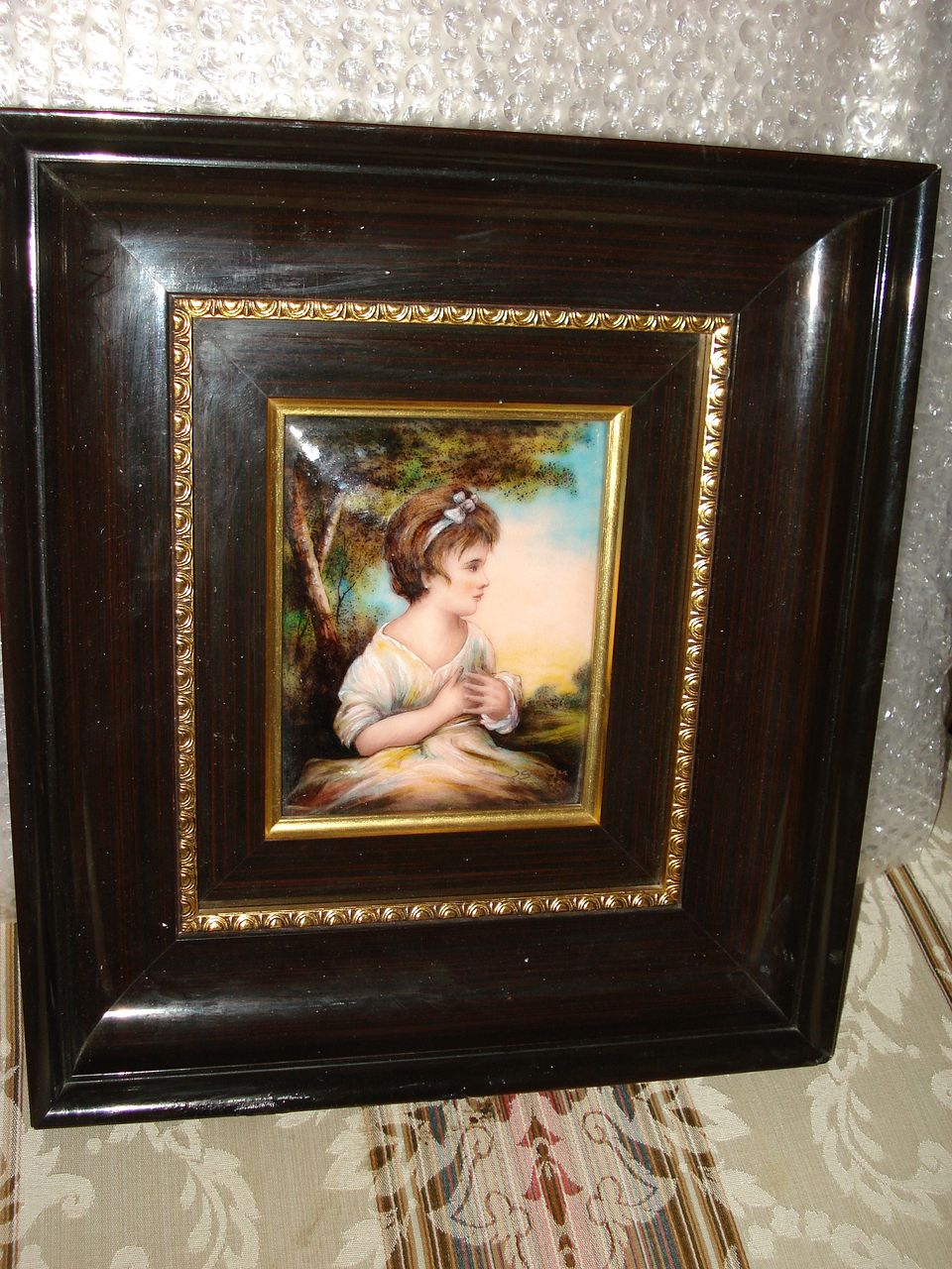 French  Limoges Porcelain Painting Of Young Girl