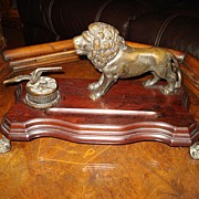 Old Bronze French Lion Eagle  Inkwell
