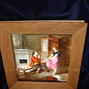 French Porcelain Painting Of Scullery Maid  c19th