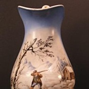SALE Old Paris Faience French Hand Painted Hunting Jug