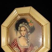 French Hand Painted Painting Woman  c1870