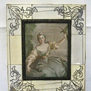 French Miniature Painting Marquise de Pompadour With Parrot on Ivory c19th