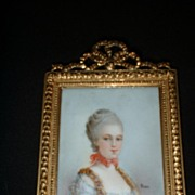 Gorgeous Miniature on Porcelain of Court Noble signed Listed Bizet c19th
