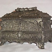 SALE Victorian Silver Plated English  Casket With Locking Lid and Key