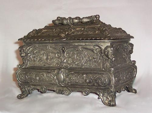 Victorian Silver Plated English  Casket With Locking Lid and Key