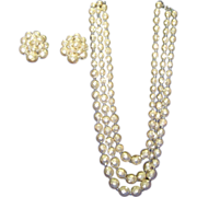 Vintage Pearlized Bead Necklace Earrings Triad