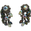 Giant Aurora Borealis Mauve Rhinestone Earrings W.Germany